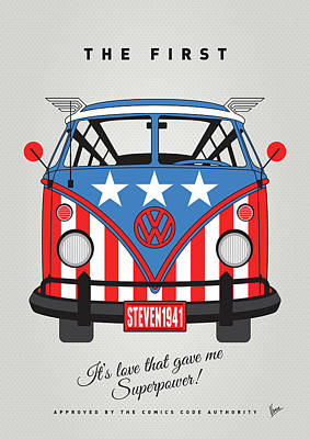 My Superhero-vw-t1-cap America Print by Chungkong Art