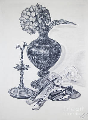 Oil Lamp Drawing - My Surroundings - Still Life by Chethmini Liyanapatabendy