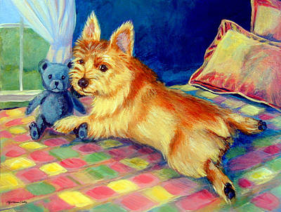 Teddy Bear Painting - My Teddy - Norwich Terrier by Lyn Cook