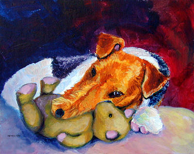Teddy Bear Painting - My Teddy - Wire Hair Fox Terrier by Lyn Cook