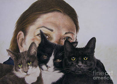 Animal Shelter Drawing - My Three Cats by Phil Welsher
