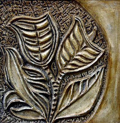 Ceramic Relief Relief - Vintaje Tile With Calas  by Madalena Lobao-Tello