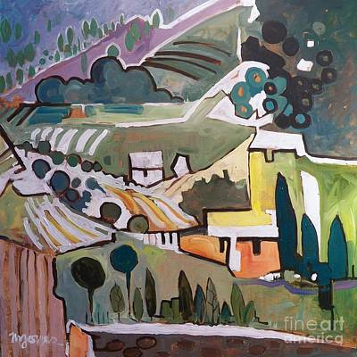 My View In Montone, Italy Print by Micheal Jones