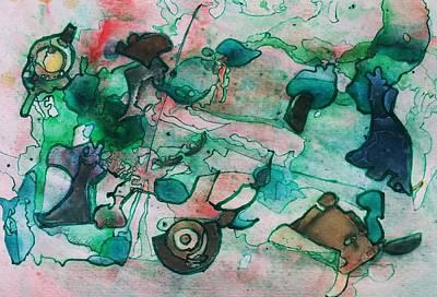 Rain Barrel Painting - My Yard by Betty Lu Aldridge