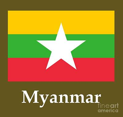 Myanmar Flag And Name Original by Frederick Holiday