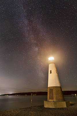 Myers Lighthouse By Night Print by Michele Steffey