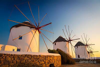 Greek Icon Photograph - Mykonos Windmills by Inge Johnsson
