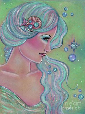 Mermaid Drawing - Myrna by Renee Lavoie