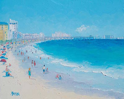 Beach Scenes Painting - Myrtle Beach And Springmaid Pier by Jan Matson