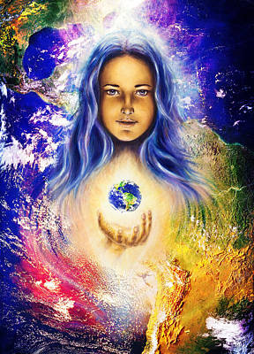 America The Continent Painting - Mystic Woman And Earth Collage. Hands Holding Planet Earth. Woman Illustration by Jozef Klopacka