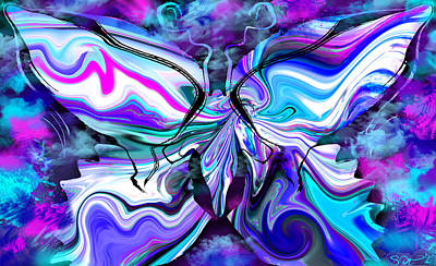 Mystical Butterfly In Misty Blues Print by Abstract Alien Artist Stephen K