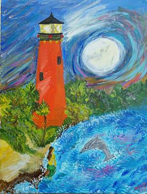 Mystical Jupiter Lighthouse Original by Adriana Schneider