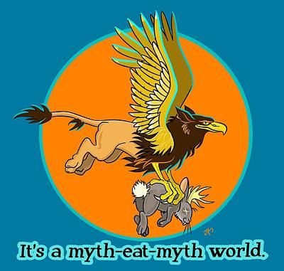 Griffon Digital Art - Mythhunter by J L Meadows