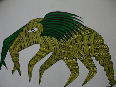 Gond Art Drawing - Mythical Creature Dsu 13 by Dhavat Singh