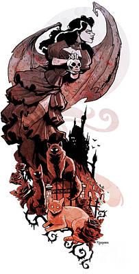 Halloween Digital Art - Nadja's Flight by Brian Kesinger