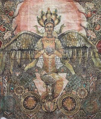Sri Yantra Painting - Nage Kanya by Silk Alchemy