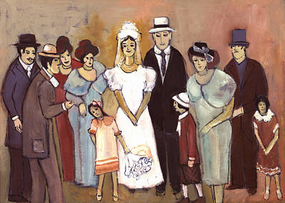 Blue Painting - Naive Wedding Large Family White Bride Black Groom Red Women Girls Brown Men With Hats And Flowers by Rachel Hershkovitz