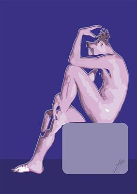 Modern Digital Art Drawing - Naked Boy by Joaquin Abella
