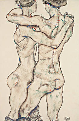 Schiele Drawing - Naked Girls Embracing by Egon Schiele