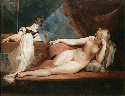 Woman Playing Piano Painting - Naked Woman And Woman Playing The Piano by Johann Heinrich Fussli