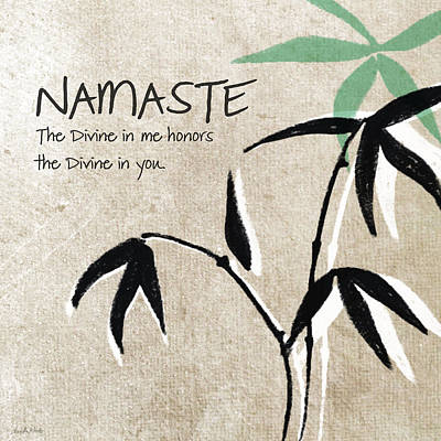 Bamboo Painting - Namaste by Linda Woods
