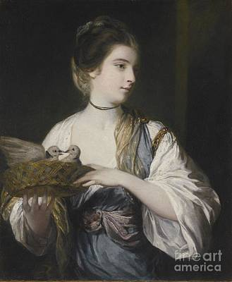 Nancy Reynolds With Doves Print by Joshua Reynolds