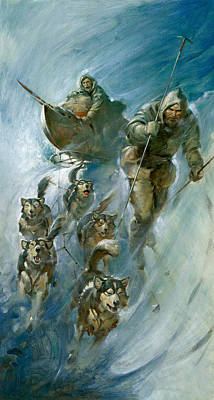 Husky Painting - Nansen Conqueror Of The Arctic Ice by James Edwin McConnell