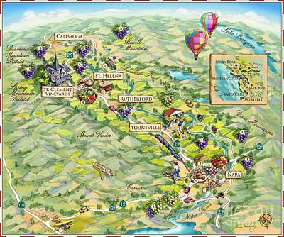Napa Valley Vineyard Drawing - Napa Valley Illustrated Map by Maria Rabinky