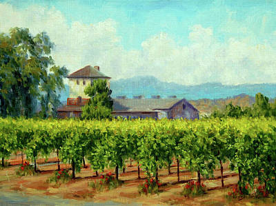 Sattui Painting - Napa Valley Vines by DJ Lanzendorfer