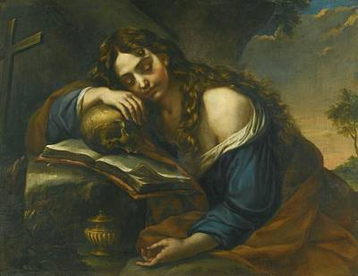 Naples Mary Magdalene Sleeping Print by Giovan Battista