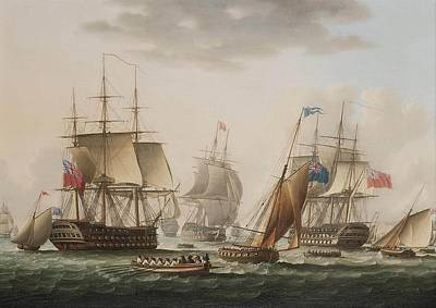 Northumberland Painting - Napoleon Being Transferred From H M S Bellerophon by Thomas Buttersworth