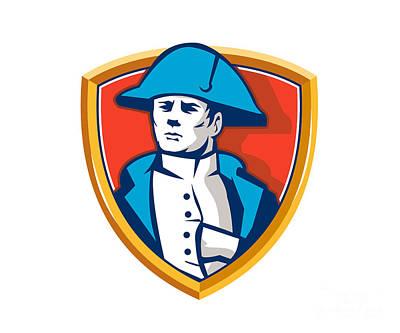 Napoleon Bonaparte Digital Art - Napoleon Bonaparte Bicorn Hat Shield Retro by Aloysius Patrimonio