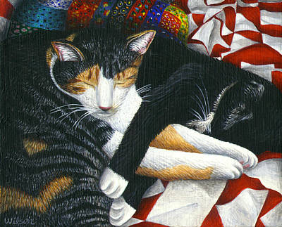 Napping Cat Friends Print by Carol Wilson