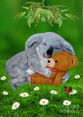 Koala Digital Art - Naptime With Teddy Bear by Glenn Holbrook