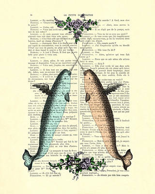 Monoceros Digital Art - Narwhals In Love by Madame Memento
