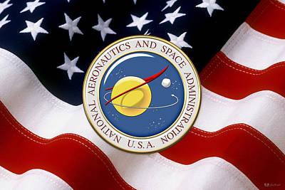 N A S A Emblem Over American Flag Original by Serge Averbukh