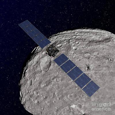 Crater Digital Art - Nasas Dawn Spacecraft Orbiting by Stocktrek Images