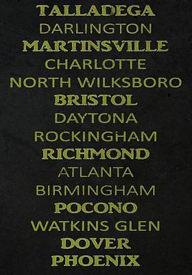 Charlotte Mixed Media - Nascar Track List by Dan Sproul