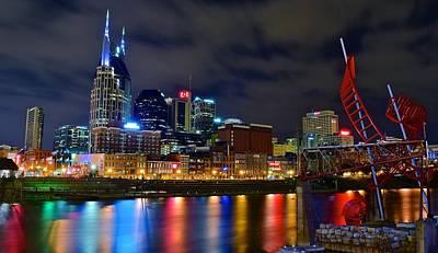 Downtown Nashville Photograph - Nashville After Dark by Frozen in Time Fine Art Photography