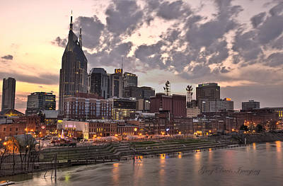 Nashville At Dusk Print by Greg Davis