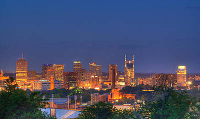 Nashville By Night Print by Douglas Barnett