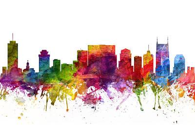 Nashville Skyline Painting - Nashville Cityscape 06 by Aged Pixel