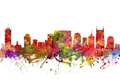 Nashville Skyline Painting - Nashville Cityscape 08 by Aged Pixel