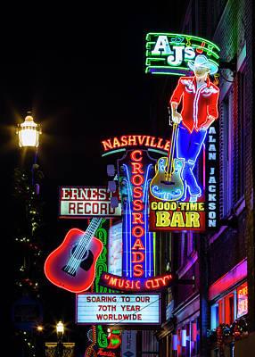 Downtown Nashville Photograph - Nashville Neon Broadway by Stephen Stookey