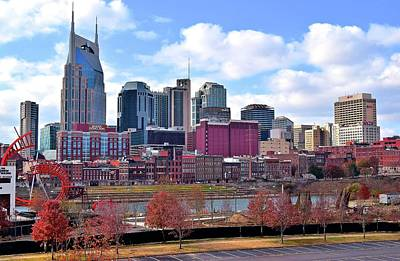 Downtown Nashville Photograph - Nashville On The Riverfront by Frozen in Time Fine Art Photography