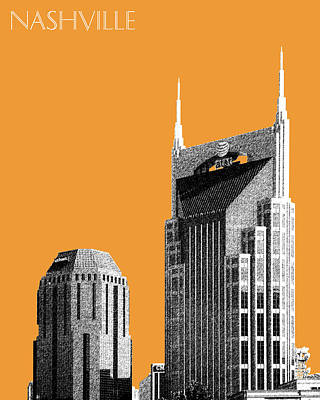 Nashville Skyline At And T Batman Building - Orange Print by DB Artist