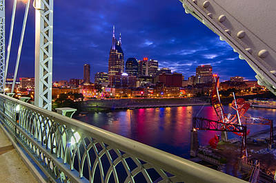Nashville Skyline From Shelby Bridge Print by Mike Burgquist