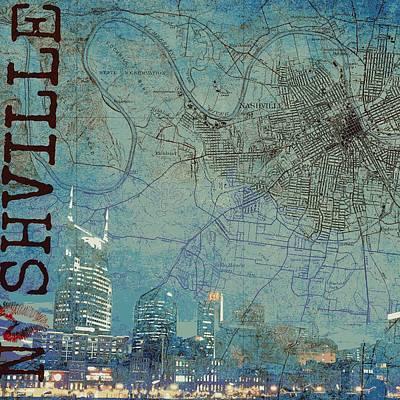 Navigation Mixed Media - Nashville Skyline Map by Brandi Fitzgerald