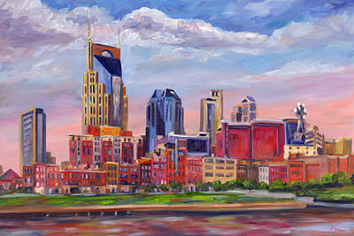 Bat Painting - Nashville Skyline Painting by Jeff Pittman