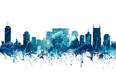 Nashville Skyline Painting - Nashville Tennessee Skyline 19 by Aged Pixel